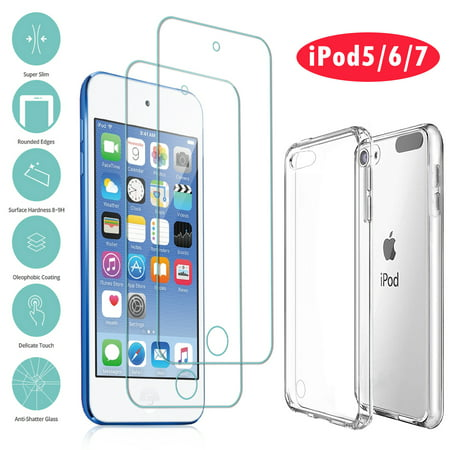 iPod Touch 7 Case, iPod Touch 7 6 5 Case with 2 Screen Protectors, EEEkit Clear Slim Soft TPU Bumper Hard Case for Apple iPod Touch 5 / 6th / 7th Generation (Latest Model 2019 Released), Clear