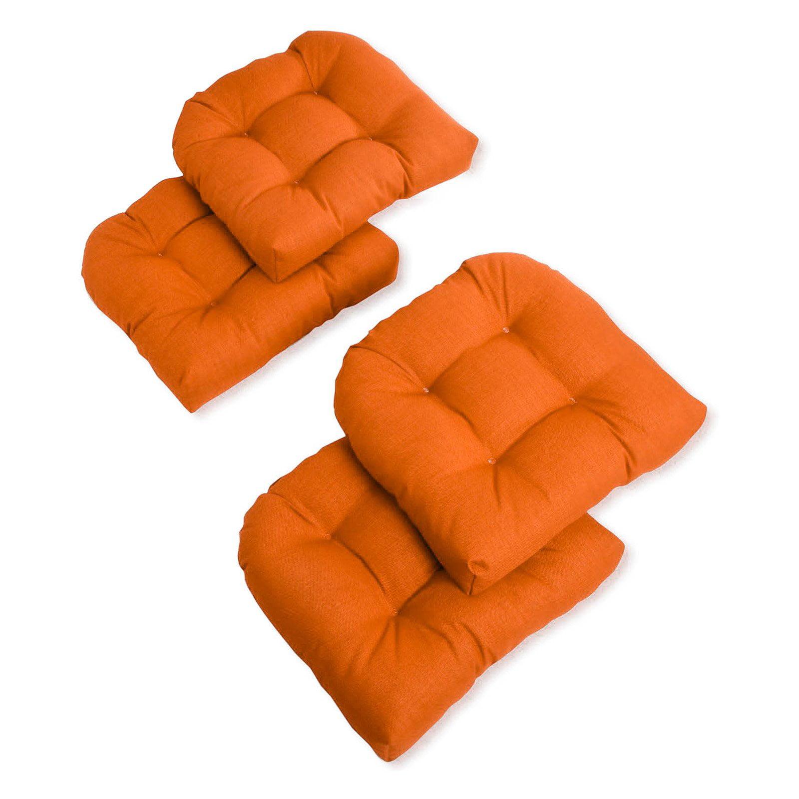 Blazing Needles Reo Solid U-Shaped Outdoor Chair Cushion - Set of 4