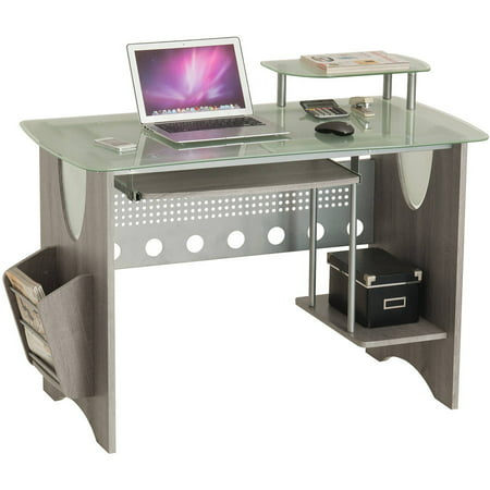 Frosted Glass Top Desk - Techni Mobili Stylish Frosted Glass Top Computer Desk with Storage, Grey (RTA-3325-GRY)