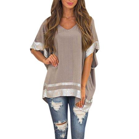 Asymmetric Hem Top (Women Short Sleeve Sequins Asymmetric Hem Blouse)