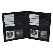 Men's Bifold Hipster Wallet with 10 Credit Card slots and 2 Picture ID's by Leatherboss