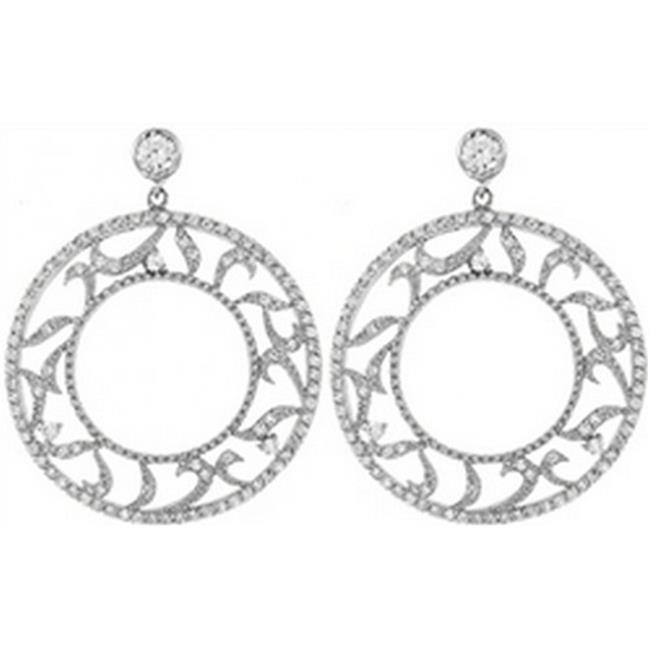 Doma Jewellery DJS01980 Sterling Silver (Rhodium Plated) Earring with CZ - 35mm Diameter