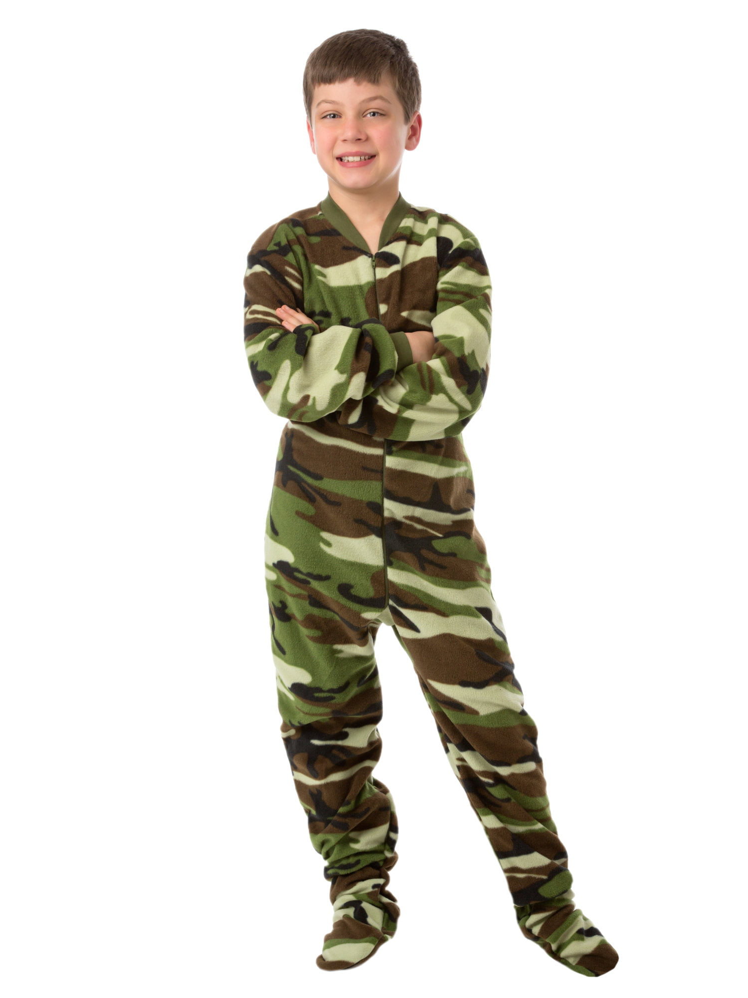 Toddler Boys Camo Construction Excavator Fleece Footed Pajama Sleeper