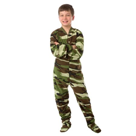 Big Feet Pjs Kids Green Camo Fleece Boys Footed Pajamas One Piece (Camouflage Sleeper)