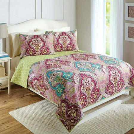 better homes and gardens jeweled damask bedding quilt collection reversible quilt