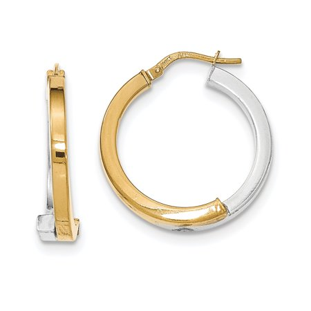 14K Two Tone White & Yellow Gold Overlapping Square Tube Hoop Earrings (1IN Long) 14k Two Tone Gold Overlapping