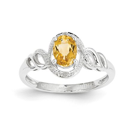 10k White Gold 6x4mm Oval Citrine Diamond Ring Carat Wt- 0.02ct. Gem Wt- 0.77ct