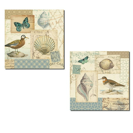 Beautiful Seabird, Butterfly, Shell and Music Note Collage by Pela; Coastal Decor; Two 12x12in Poster Prints. Light Blue/Tan (Music Note Lights)