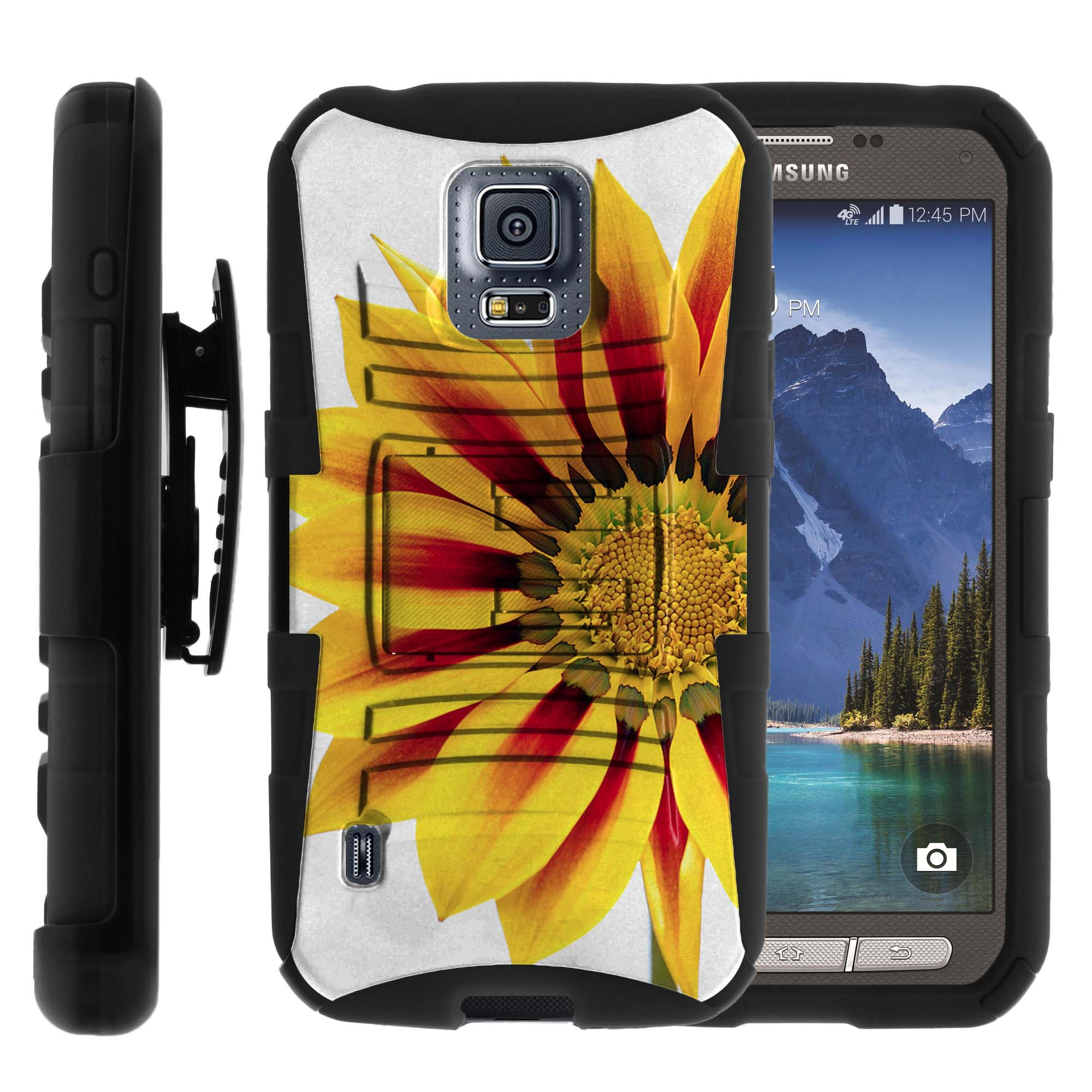 Case for Samsung Galaxy S5-ACTIVE SM-G870 [ Clip Armor Series ] Holster & Belt Clip Dual-layer Combo w/ Built-in Kickstand - Yellow Sunflower