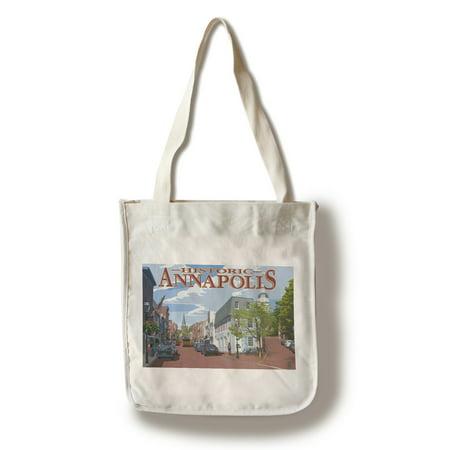 Historic Annapolis  Maryland   Street View   Lantern Press Artwork  100  Cotton Tote Bag   Reusable