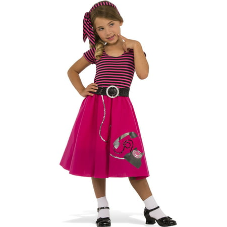 1950'S Girl Hot Pink Poodle Skirt Decades Halloween (Costume 1950's Era)