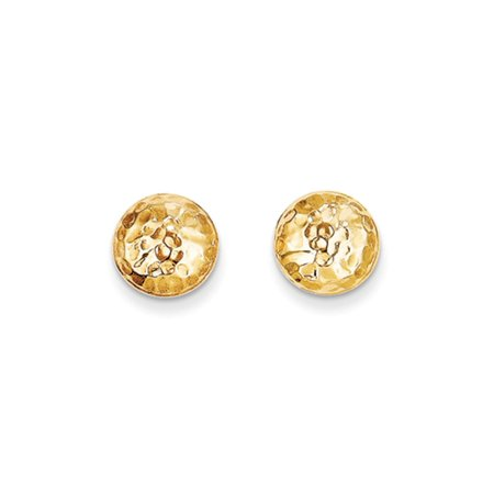 9mm Hammered Puffed Round Post Earrings in 14k Yellow Gold 9 Mm Puffed Heart
