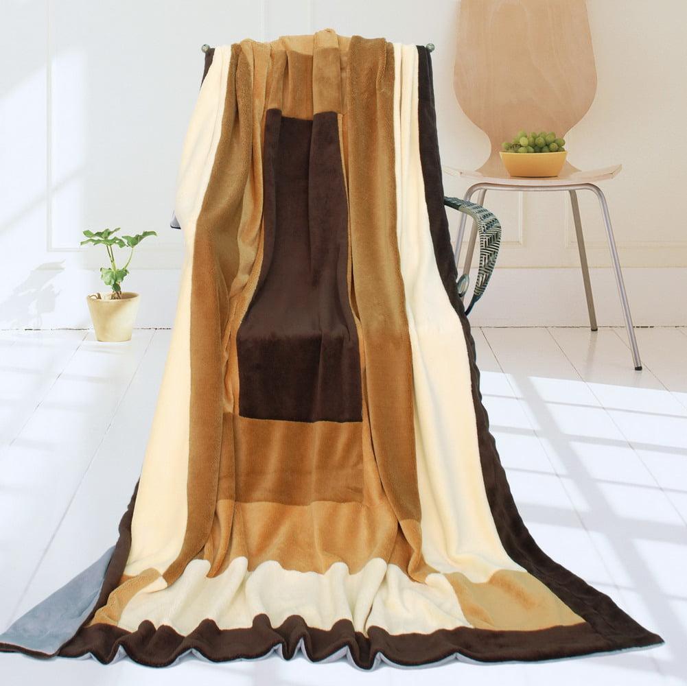 "Onitiva - [Pastorale] Soft Coral Fleece Patchwork Throw Blanket (59""-78.7"")"