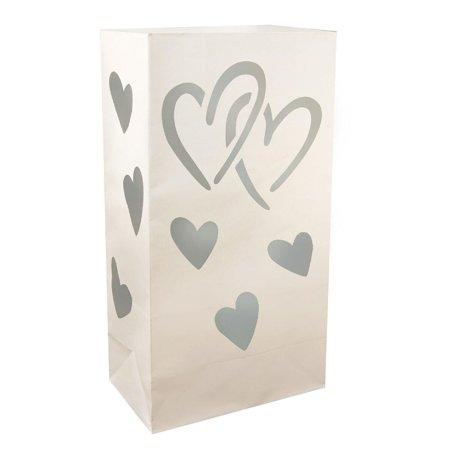 Club Pack of 24 Silver Interlocking Hearts Design Luminaria Bags 11