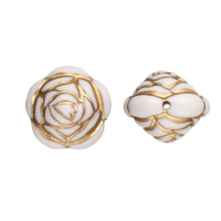 Acrylic Beads, Shaped Double-Sided Rose, Cream With Gold Paint, 25mm pack of 18pcs/100G (2-pack Value Bundle), SAVE $1