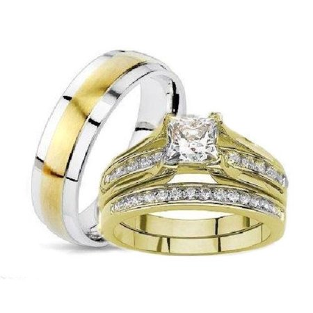 his hers princess cut wedding ring set yellow gold plated stainless steel - Princess Cut Wedding Ring Sets
