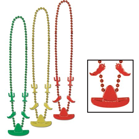 Pack of 36 Green, Yellow & Red Mexican Fiesta Cinco de Mayo Party Bead Necklaces - Cinco De Mayo Party Favors