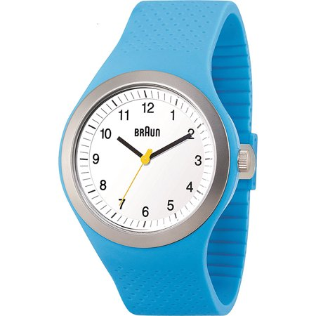 Mens Sport Analog Plastic Watch - Blue Rubber Strap - White Dial - BN0111WHBLG