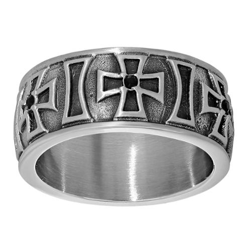 BIG Jewelry Co Stainless Steel Cross Design Cubic Zirconia Antiqued Finish Ring