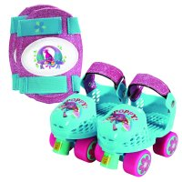 Playwheels Trolls Kids Roller Skate, Junior Size 6-12 with Kneepads