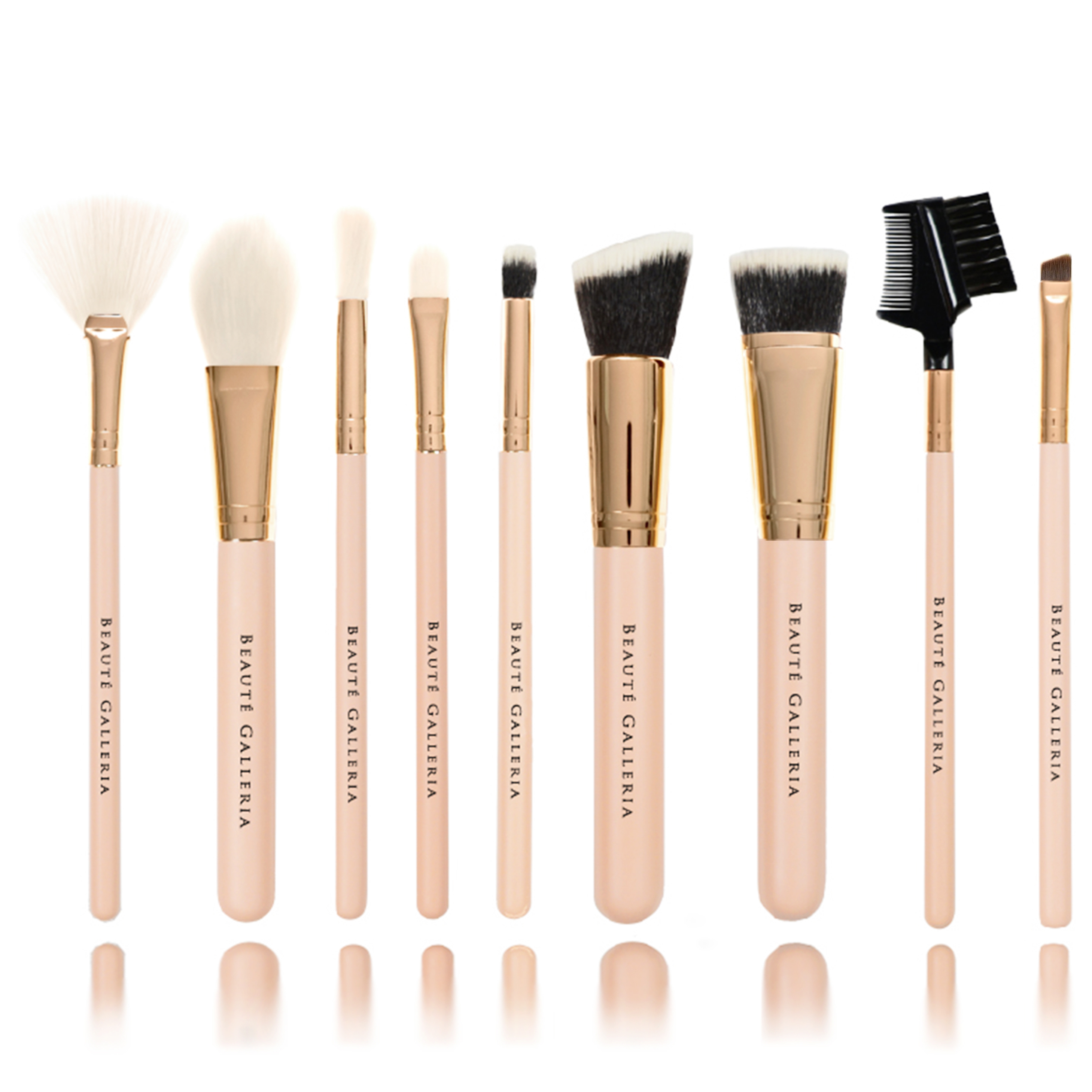 Beaute Galleria - 9pcs Synthetic Cruelty-Free Vegan Makeup Brush Set (Foundation, Contour, Blush, Fan, Concealers, Eyeliner, Eye-Shadows, Crease, Lash-Brow) with Case and Mirror