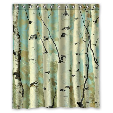MOHome Forest Landscape Wilderness Birch Tree Shower Curtain Waterproof Polyester Fabric Size 60x72 Inches