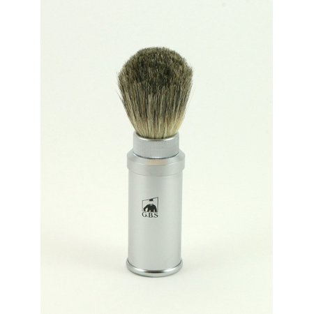 100% Pure Badger Bristle Travel Shaving Brush, Light Silver Gray Metal Cannister, 100% Satisfaction Money Back Guaranteed. Makes for the perfect gift! B3 By (Gbs Back Zip)