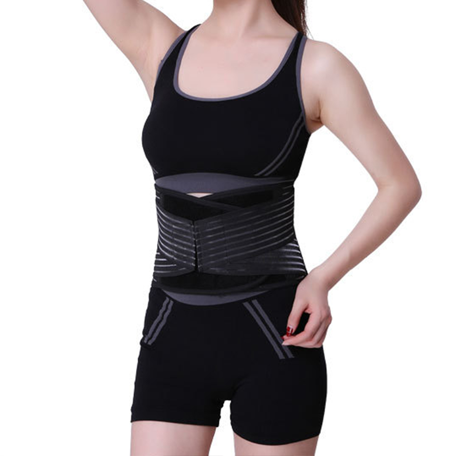 CNMODLE Man Woman Breathable Back Support Brace Belt Stabilizing Lumbar Lower Waist Dual Adjustable Straps Flexible Brace