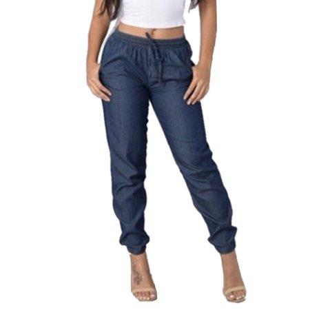 Women's Plus Size Drawstring Jeans Elastic Waiste Casual Denim Pants