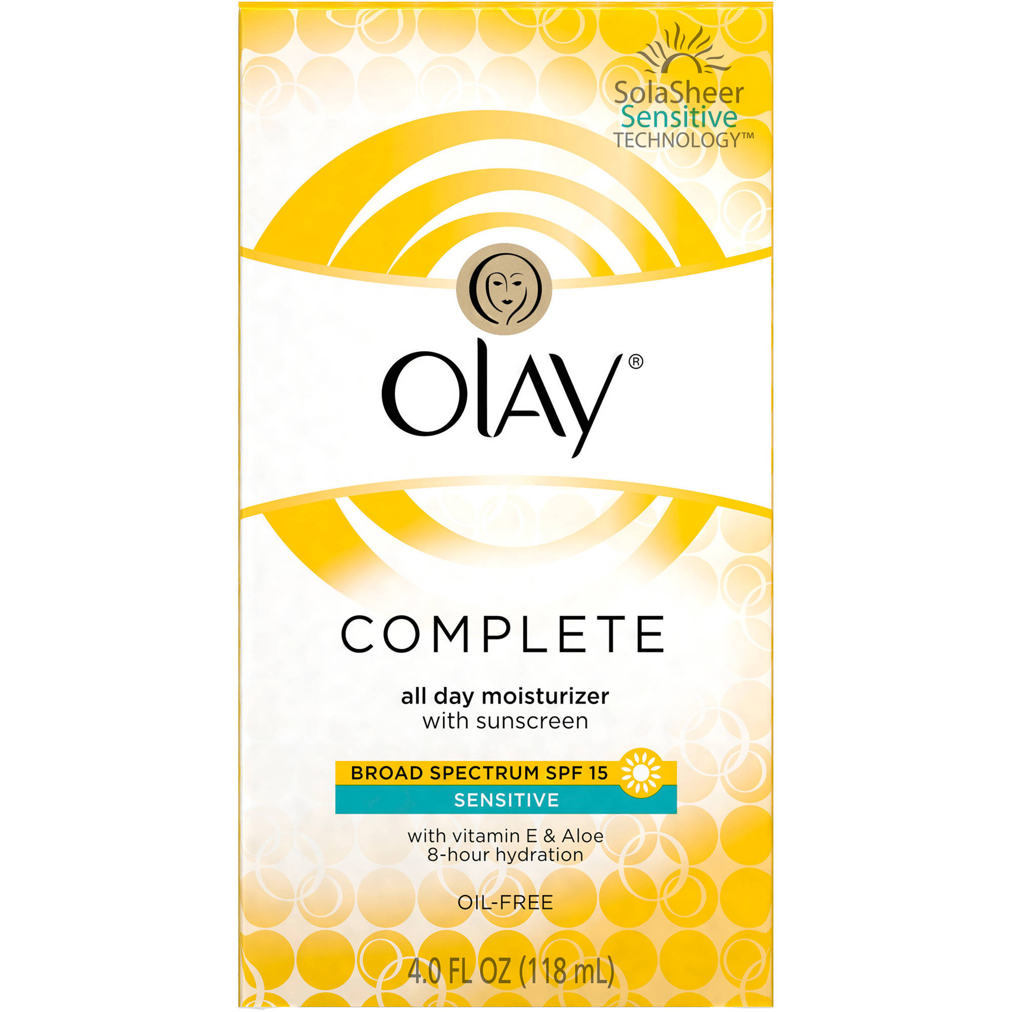 Olay Complete All Day Face Moisturizer with Sunscreen SPF 15 Sensitive Skin, 4 fl oz