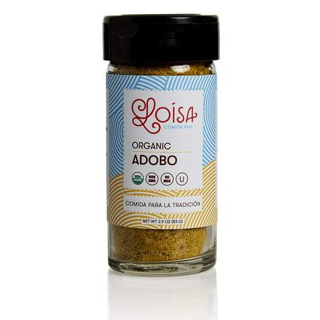 Loisa Adobo Seasoning, USDA Organic, Non-GMO, No-MSG, No Preservatives, No Artificial Coloring, No Artificial Flavors, 2.9oz