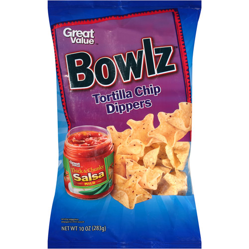 Great Value Bowlz Tortilla Chip Dippers, 10 oz