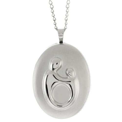 """Sterling Silver Mother and Child Locket Pendant Necklace with 18"""" Silver Chain"""