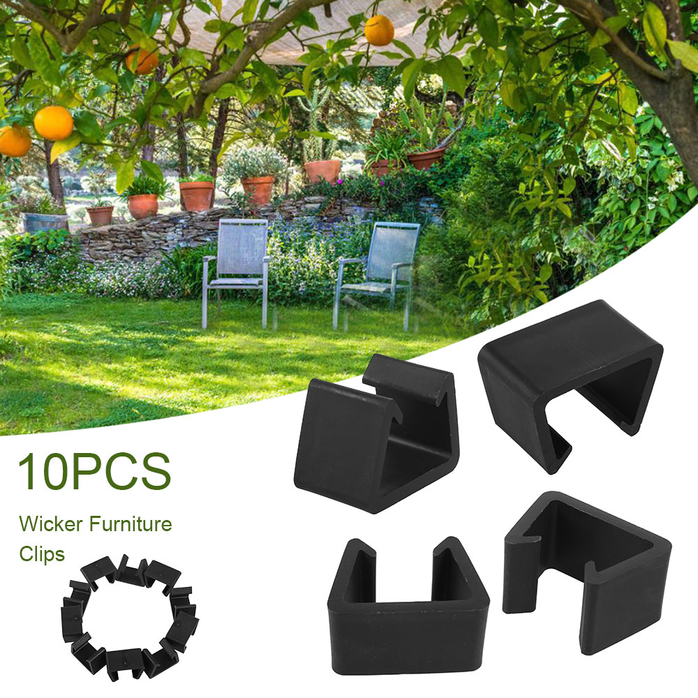 10 Pcs Outdoor Patio Wicker Furniture Clips Sectional Sofa Rattan Furniture Clamps Chair Fasteners Wicker Chair Garden Furniture Clips