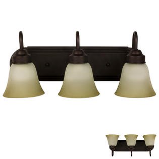 Hunter Oil Rubbed Lighting - Three Globe Bathroom Vanity Light Bar Bath Fixture, Oil Rubbed Bronze with Frosted Glass and Tinted Highlights