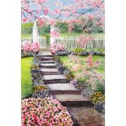 "Pansy Path Garden Flag Spring Floral Decorative Banner Custom Decor  12"" x 18"""