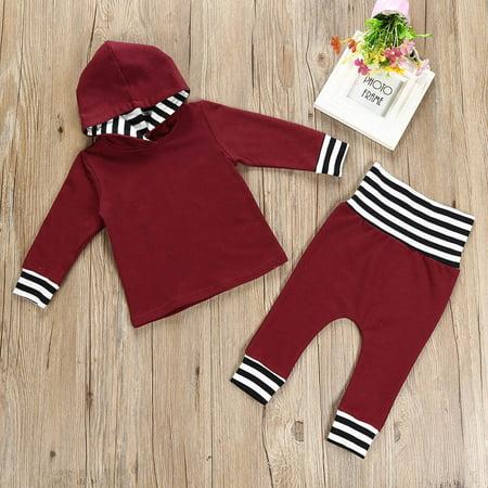 581b5a16e CARLTON 2pcs Toddler Infant Baby Boy Girl Striped Hooded Tops+Pants ...
