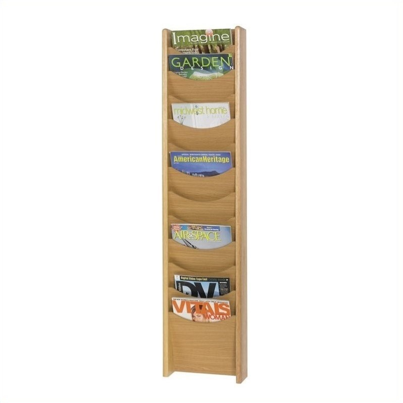 Safco 12-Pocket Wood Magazine Rack in Medium Oak - image 1 of 1