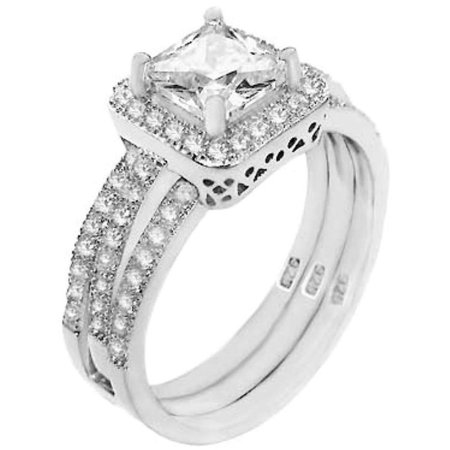 1.25 ct Princess cut Halo Bridal Wedding ring designer 2 Piece Set .925 Silver