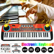 Digital Music Piano Keyboard 49 Key, Portable Electronic Musical Instrument Multi-Function Keyboard and Microphone for Kids Piano Music Teaching Toys Birthday Christmas Day Gifts for Kids (Black)