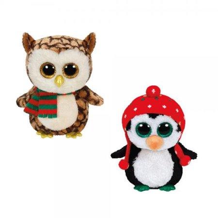 BEANIE BOOS Ty 2015 Christmas set Freeze the Penguin and Wise the owl (Christmas Beanie Boos)