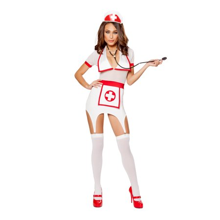 Lab Assistant Halloween Costume (Roma Costume Adult Women Halloween Party Outfit 3 Piece Doctors Naughty Assistant Red/white -)