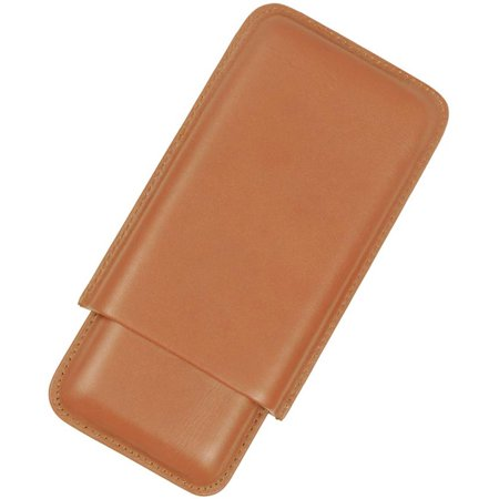Tan Leather Cigar - Midwest 3 Finger Tan Leather Cigar Case