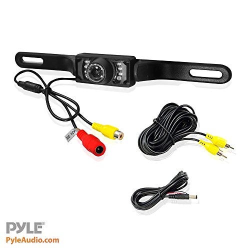 Pyle PLCM10 Rear View Backup Parking Reverse Camera, License Plate Mount, Weatherproof, Night Vision, Distance Scale Lines, Swiv