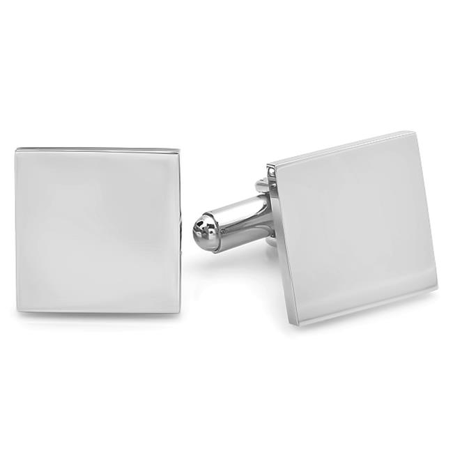 Mens Stainless Steel Plain Square Cuff Links