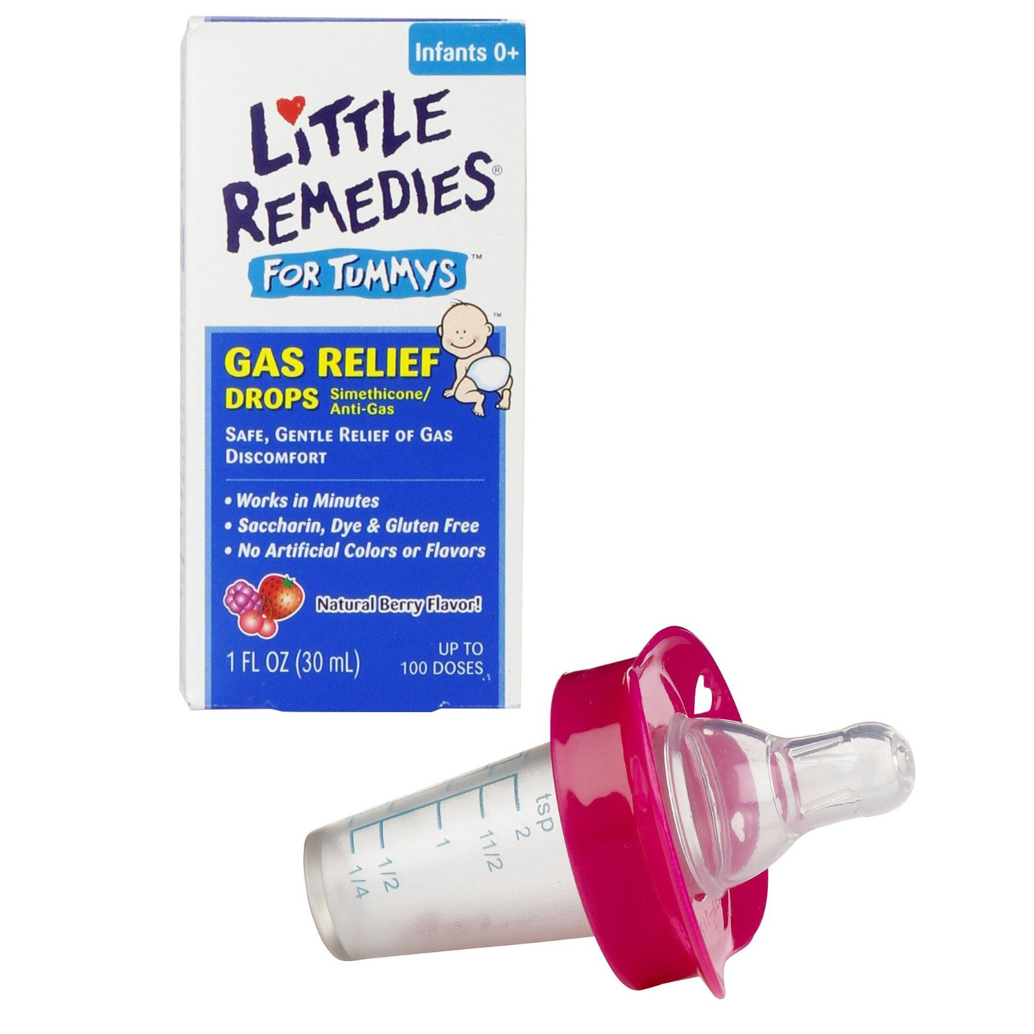 Little Remedies Little Tummys Gas Relief Drops with Pacifier Medicine Dispenser, Pink