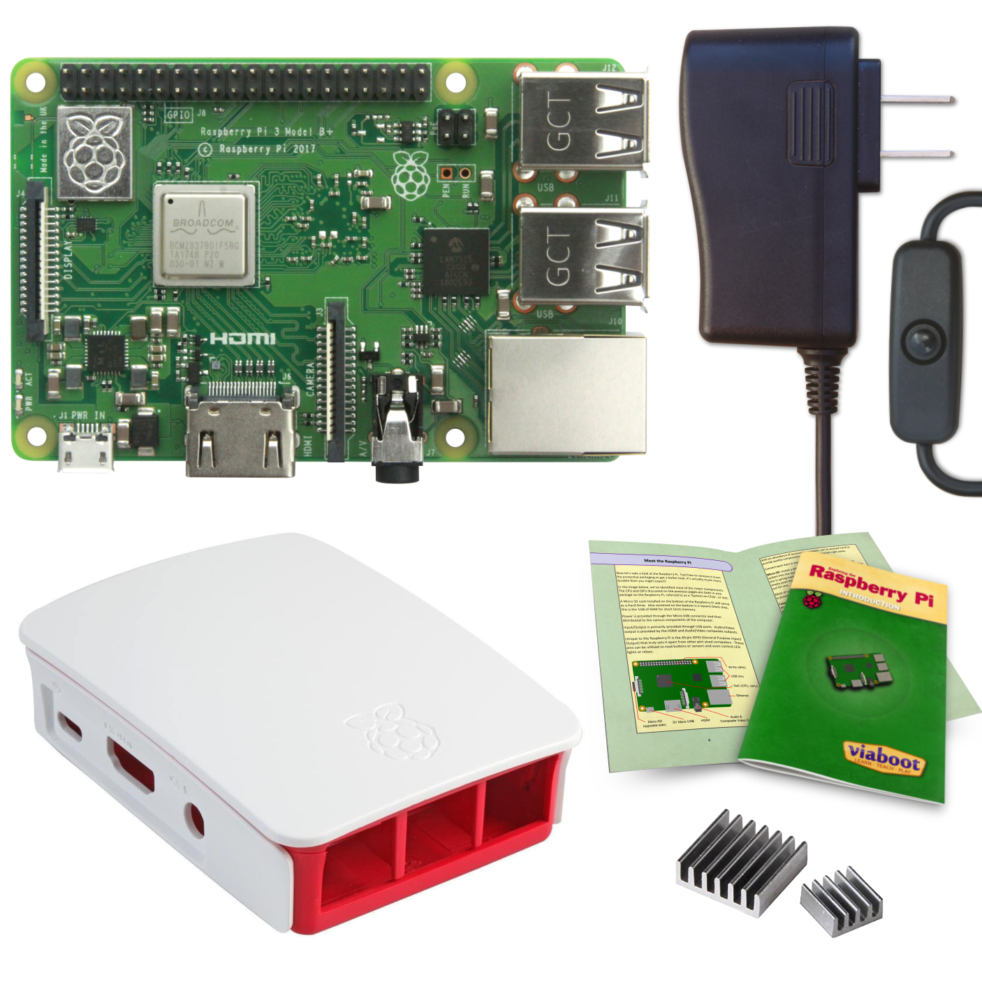 Viaboot Raspberry Pi 3 B+ Power Kit with Official Red/White Case
