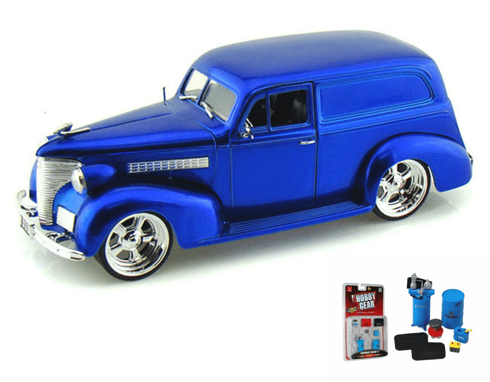 Diecast Car & Garage Diorama Package 1939 Chevy Sedan Delivery, Blue Jada Toys Bigtime... by ModelToyCars