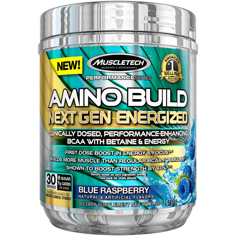 MuscleTech Amino Build Next Gen Powder, Blue Raspberry, 30 Servings