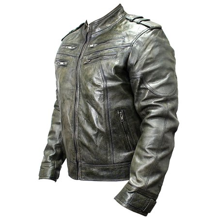 New Men's Genuine Sheep Skin Leather Fashion Jacket Green 4 Zipped chest